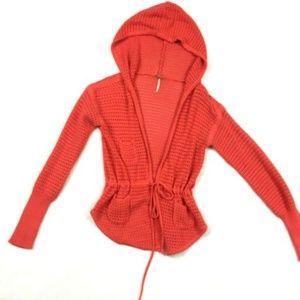 Free People Red Orange Hooded Tie Front Cardigan